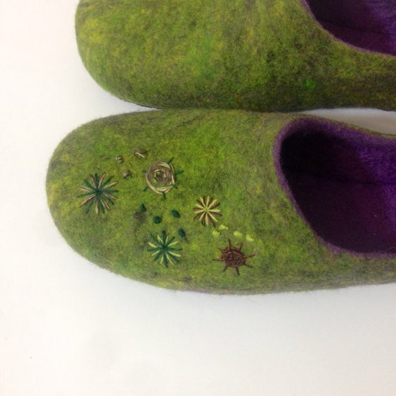 wool cozy Rubber For Women's slippers embroidered Felted shoes purple slippers house soles Warm daughter Best Green Hand slippers and RIYw1Bxq