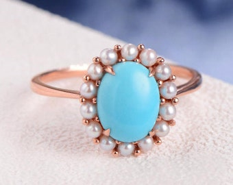 Turquoise Ring Halo Engagement Ring Akoya Pearl Rose Gold Oval Cut Gemstone Multistone Cluster Flower Antique Retro Ring Floral Halo Ring