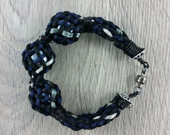 Bracelet: woven braided satin cord and three glass balls; black, grey. blue; gift for him, gift for her