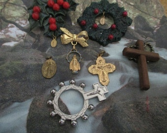 Vintage Religious Small Items - Rosary, catholic, christmas, crucifix