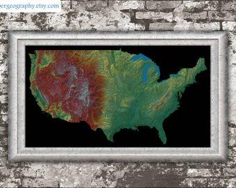 US elevation map (high resolution digital print), map print, wall art map, poster map, travel print, printable, home decor, gift, wall decor