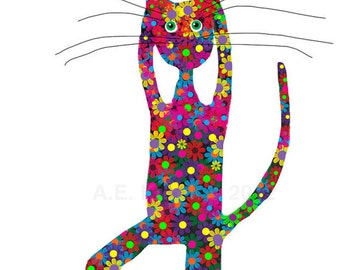 Cat Art Print - Flower Cat Doing Yoga - Print 5x8 - Yoga Art Print - Yoga Gift - Cat Lover Gift - Yoga Cat Illustration