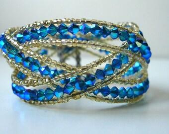 Swarovski crystal beads bracelet in blue