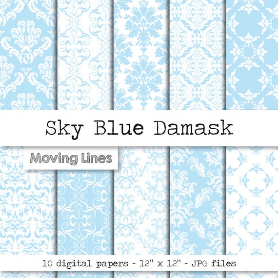 Blue Damask Digital Paper Pack Its A Boy Newborn Baby Birthday Card Making Sky Wedding Wallpaper Scrap Booking From MovingLines On Etsy Studio