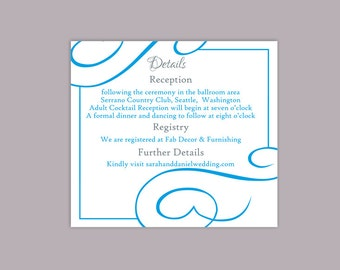 DIY Wedding Details Card Template Download Printable Wedding Details Card Editable Aqua Blue Details Card Elegant Enclosure Card Party Cards
