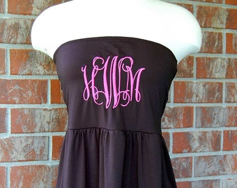 Monogrammed Cover Up-Coverup-Bathing Suit-Swimsuit-Swim Suit-Monogram-Beach Dress-Black-Strapless-Summer-Monogrammed Gift-Birthday-Gift