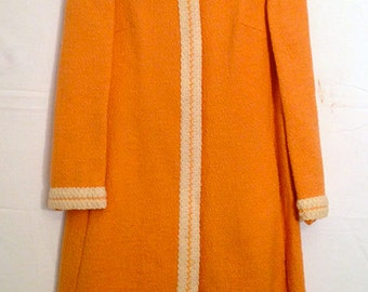 Vintage FORSTMANN - Long Wool Orange Coat - 1950's