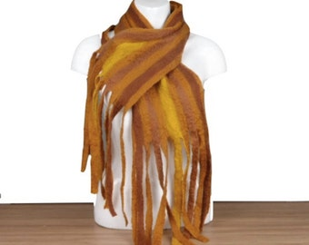 Wet felted scarf, felt scarf, striped scarf, brown scarf, womens fashion, fashion scarf, autumnal colours