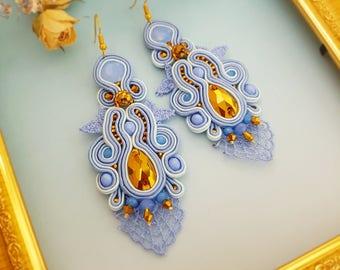 Soutache Earrings 3 in 1 - Long gold-blue Dangle Earrings, Small earrings, Pendant; Long Unique Earrings, Lace Earrings, Soutache Earrings