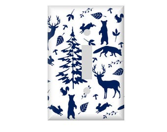 Woodland Animals Switchplate Cover -Woodland Navy Nursery - Electrical Outlet Cover - Rocker Plate cover - Deer Bear Tree