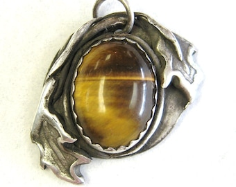 Oak Leaves, golden brown, tiger eye jewelry, sterling silver pendant, mens jewelry, leaf pendant, autumn