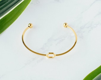 Gold Hexagon Bracelet, Hexagon Bracelet, Honeycomb gold bracelet, Bridesmaids gifts, Layering Bracelet