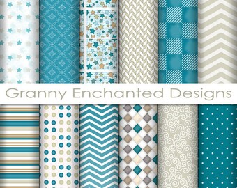 12 Digital Papers – in White, Gray, Teal, and Taupe Patterns for Digital Backgrounds, Invitations, Scrapbook Paper, and Web Design (219p1)
