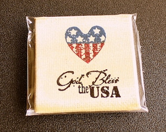 God Bless The USA Mini Canvas Magnet - Two Inch