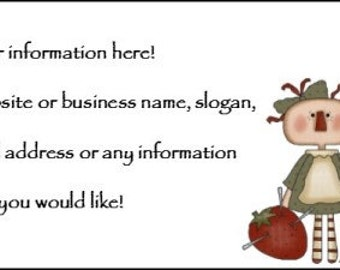 Prim Country Sewing Raggedy Customized Business Card PDF File and Jpeg