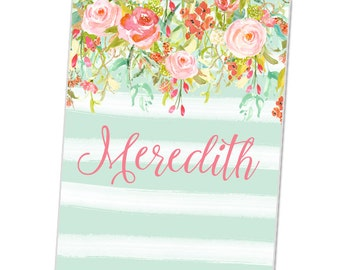 Personalized Baby Blanket - Flower and Stripe Blanket - Custom Blanket - Baby Name Blanket - Baby Girl Swaddle Blanket - New Baby Gift