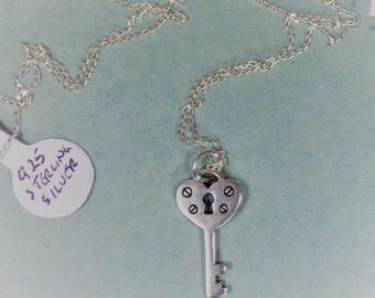 Stirling silver necklace with antique silver key charm