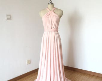 Halter Blush Pink Spandex Long Convertible Bridesmaid Dress