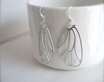 Silver Butterfly Wing Earrings, Silver Wings Earrings, Silver Dangle Earrings, Lightweight Silver Earrings - Sterling Silver Ear Wires