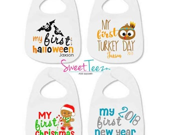 My First Bib Set of 4 SET Personalized with Name and year Halloween Thanksgiving Christmas New Year  Baby