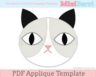 Grey Cat Applique Pattern PDF Applique Sewing Template Instant Download