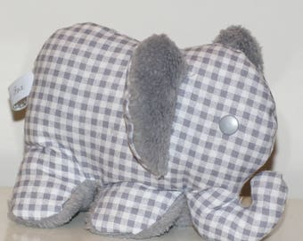 Velvet gingham baby elephant plush toy