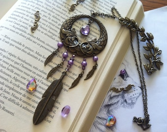 Vintage boho bohemian necklace feather