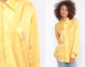 Boho Blouse Bird Shirt 70s Bohemian Top CRANE Novelty Print Button Up 1970s Hippie Long Sleeve Vintage Yellow Hipster Medium Large