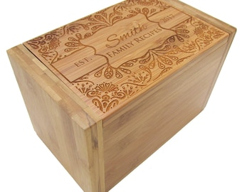 Personalized Recipe Box - Decorative Floral Design - Bamboo Recipe Box - Custom Personalized Wooden Recipe Box
