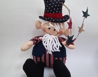 primitive Uncle Sam doll, Uncle Sam doll, patriotic decor, patriotic doll, Americana decor, 4th of July, Uncle Sam shelf sitter, Uncle Sam