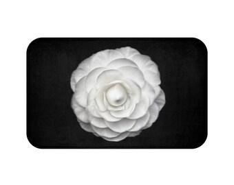 Black White Rose Bath Mat