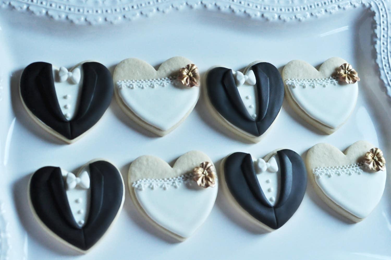 Orchid Bride and Groom Wedding Favor Cookies- 1 Dozen (6 Pair Set ...