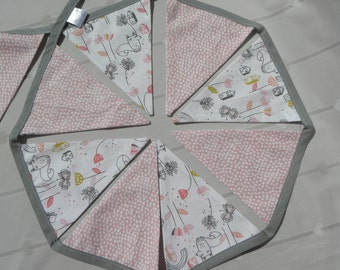 Dots and fox glove Bunting, long bunting, personalised.