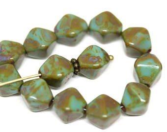 Turquoise green bicone beads Picasso czech glass beads 10mm bicones Rustic glass beads - 10pc - 1325