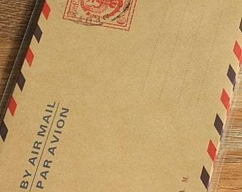 Vintage Style Brown Kraft Air Mail Envelopes, Italy, Set of 10