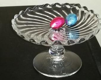 Miniature Pedastal Glass Server, Pressed Glass