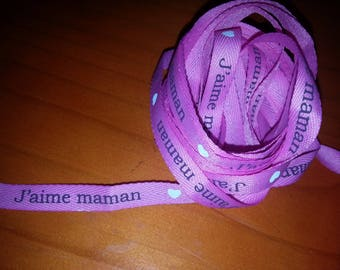 PINK COTTON RIBBON WITH WRITING