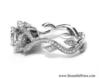 BLOOMING Work Of Art - Flower Rose Lotus Diamond Engagement Ring -looks like a flower - 14K white gold -fL07 Beautiful Petra Patented design