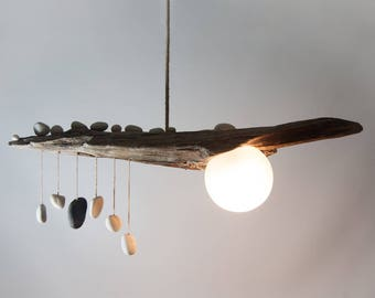 Driftwood Lamp with Quartz Pebble Pendants - Globe Glass Shade - Handmade Rustic Ceiling Light - Wood Chandelier with Rope Cable - Wabi Sabi
