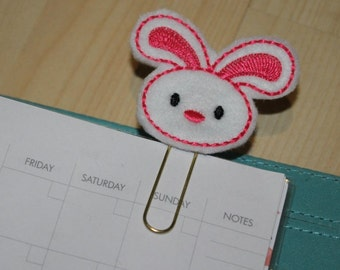 Pink Easter Bunny Rabbit Felt Planner Clip - Paper Clip - Bookmark Tan / Brown