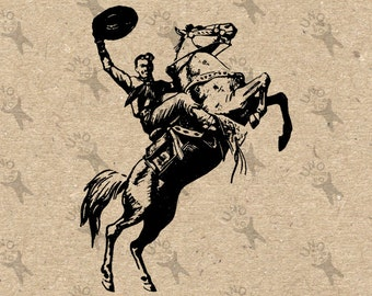 Vintage Image Cowboy Rodeo Saddle Horse Riding Instant Download Digital printable graphic for t-shirt pillows tote tea towels  HQ 300dpi