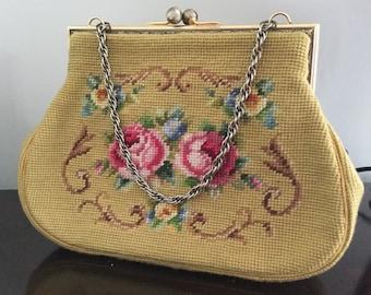 Vintage Petit Point Handbag Purse