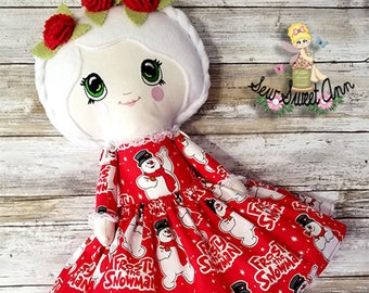 Christmas Holiday Kawaii - Frosty Snowman - Lolita Doll - Dress up Doll - Fabric Doll - Cloth Doll