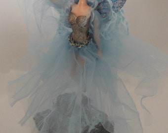 Beautiful Handmade one of a kind blue fairy.