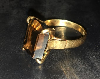 Vintage 18kt Solid Gold Smokey Quartz Ring, Emerald CIt