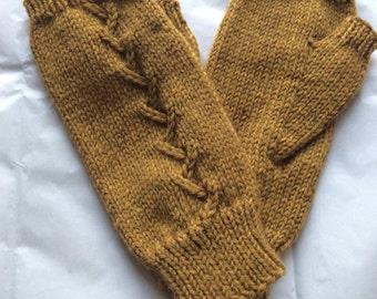 Fingerless Gloves — Tipless Finger Gloves — Knit Fingerless Gloves — Fingerless Mittens — Honey-Color Fingerless Gloves — Lace-Ribbed Gloves