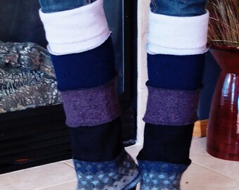 wool legwarmers from recycled wool sweaters patchwork style in multi colors