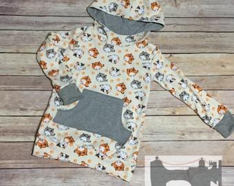 Ready to ship Kitty cat hoodie girls size 3 handmade