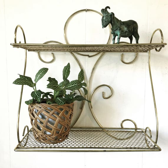 vintage wall shelf - gold metal bathroom kitchen storage - Mid Century Modern - spice rack - plant display