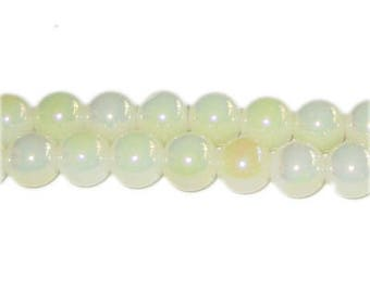 8mm Frosted Cream Galaxy Glass Bead, approx. 52 beads